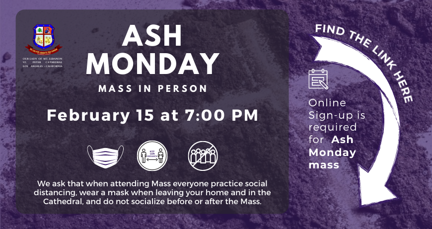 Online Sign-up for Ash Monday Mass