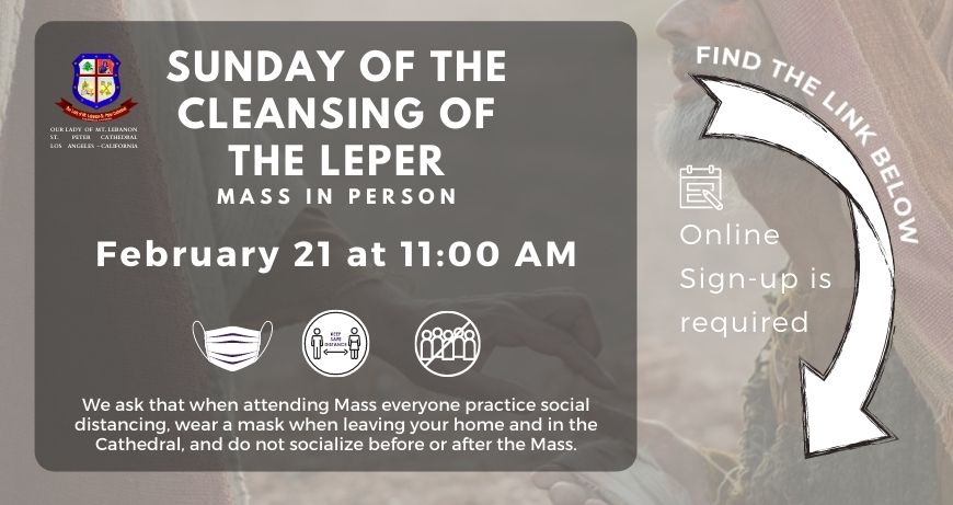 Online Sign-up for the Sunday Of the Cleansing of the Leper