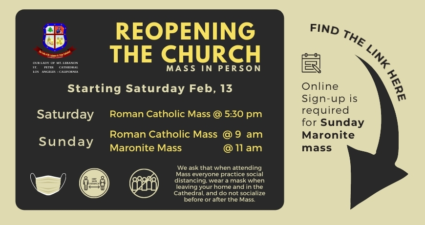 Online Sign-up for Sunday Maronite Mass